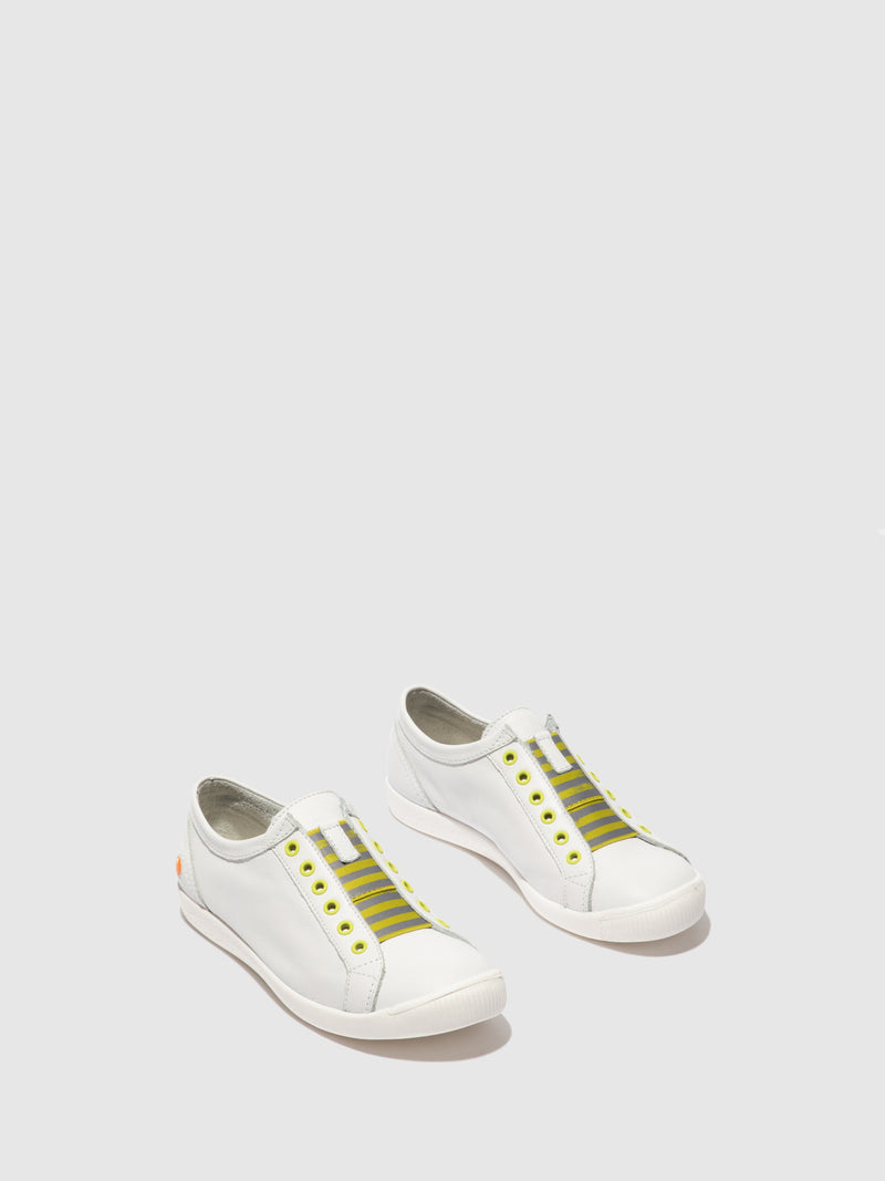 Softinos Slip-on Trainers IRIT637SOF SMOOTH WHITE W/ YELLOW ELASTIC