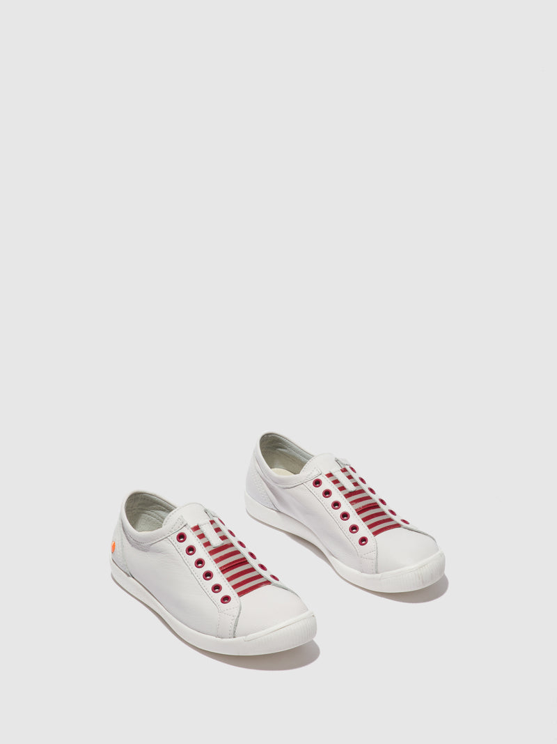 Softinos Slip-on Trainers IRIT637SOF SMOOTH WHITE W/ RED ELASTIC