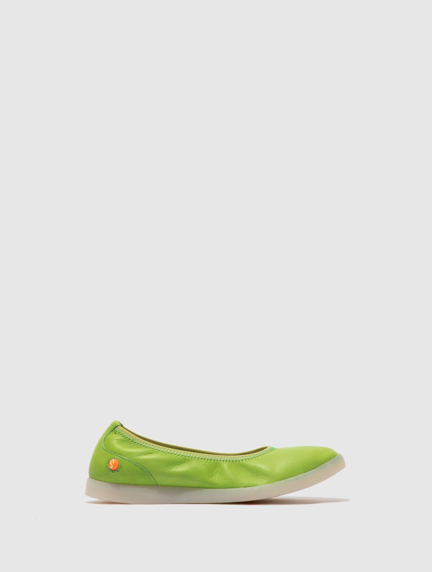 Softinos Elasticated Ballerinas LETI646SOF SMOOTH APPLE GREEN
