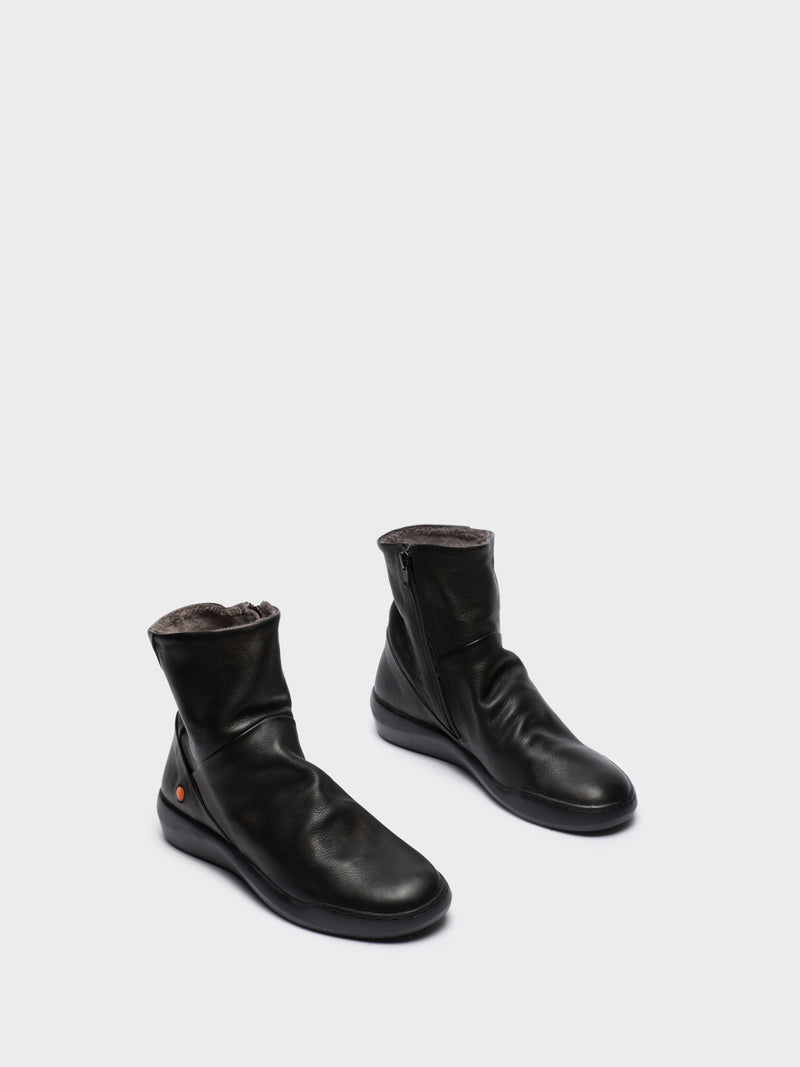 Softinos Zip Up Ankle Boots BLER550SOF BLACK