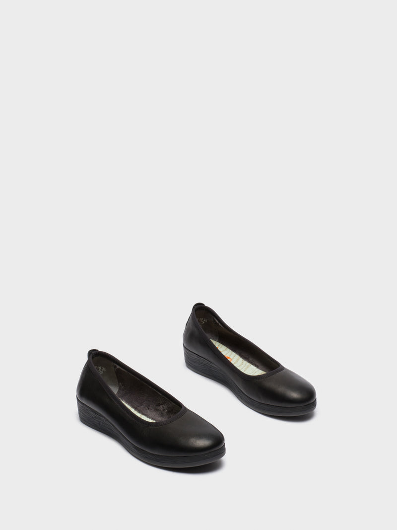 Softinos Black Wedge Ballerinas