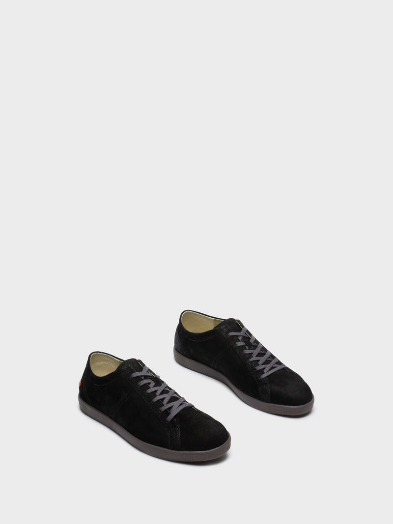 Black Leather Lace-up Trainers