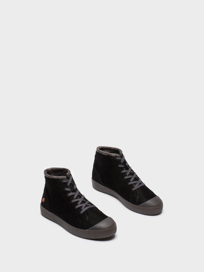 SOFTINOS Black Leather Hi-Top Trainers