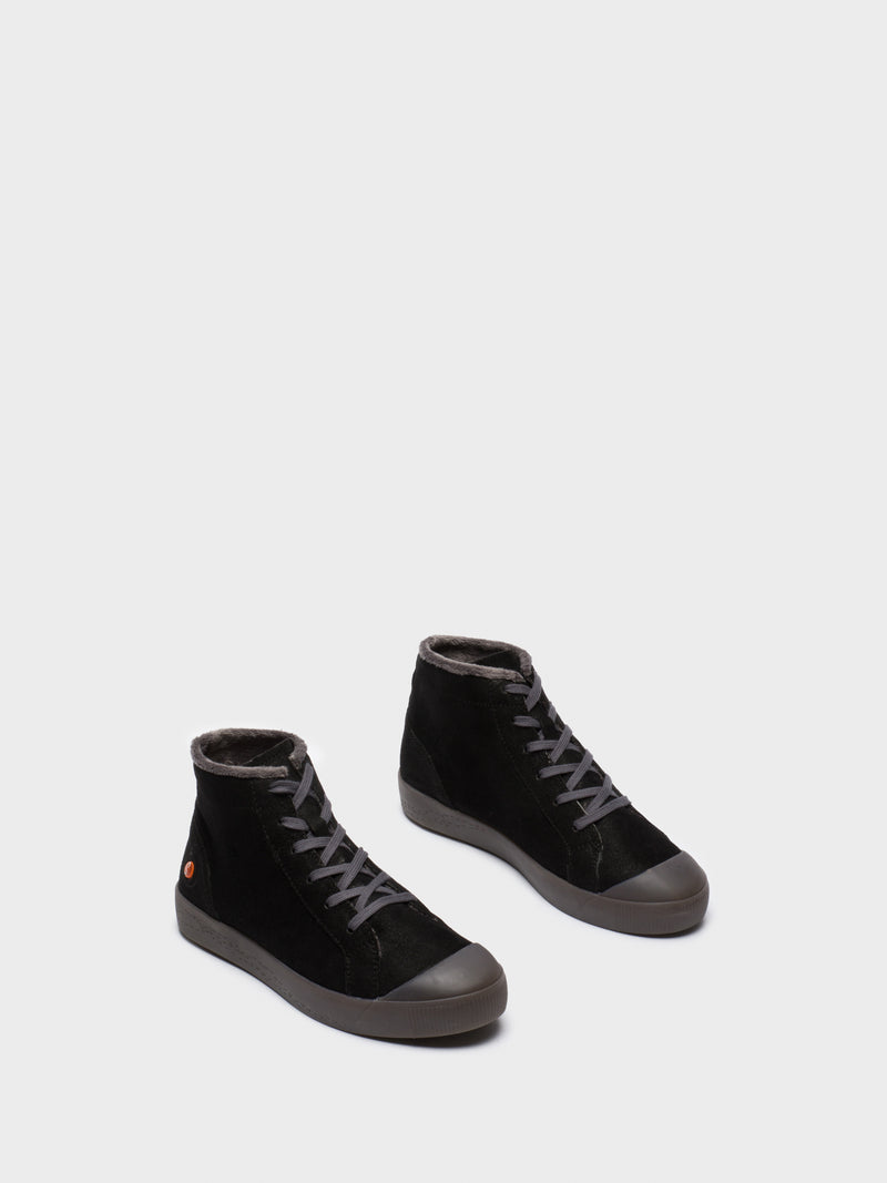 Black Leather Hi-Top Trainers