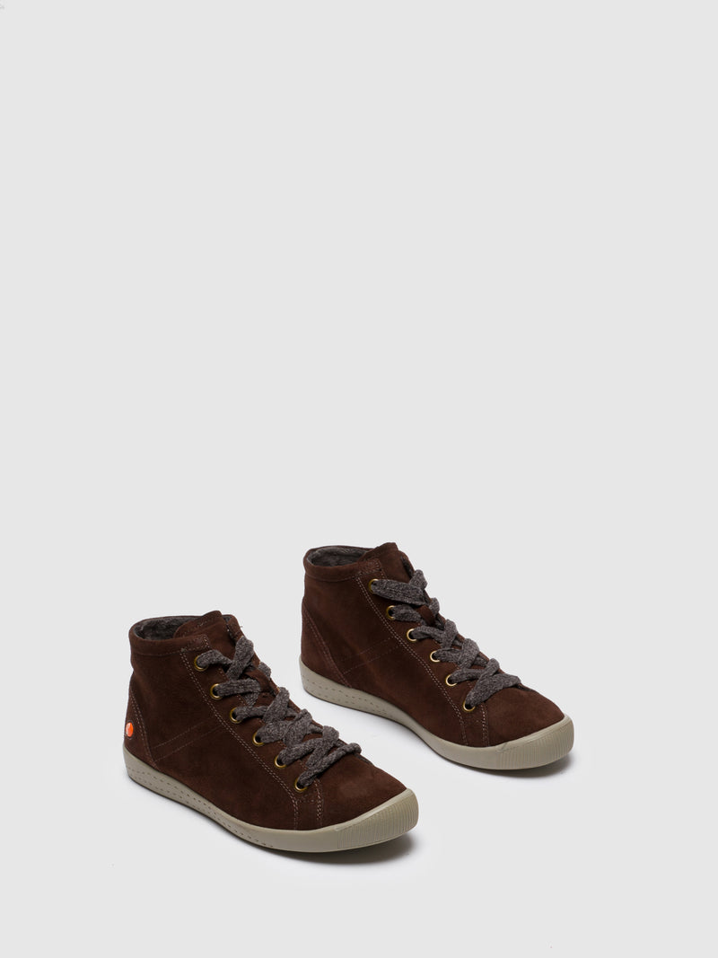 Brown Leather Hi-Top Trainers