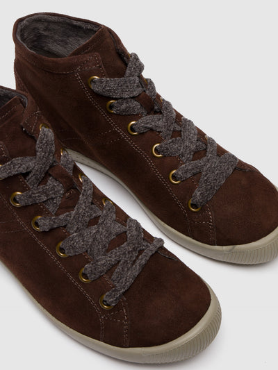 SOFTINOS Brown Leather Hi-Top Trainers