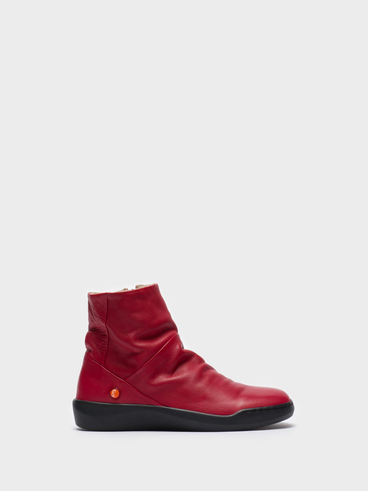 SOFTINOS Red Zip Up Ankle Boots