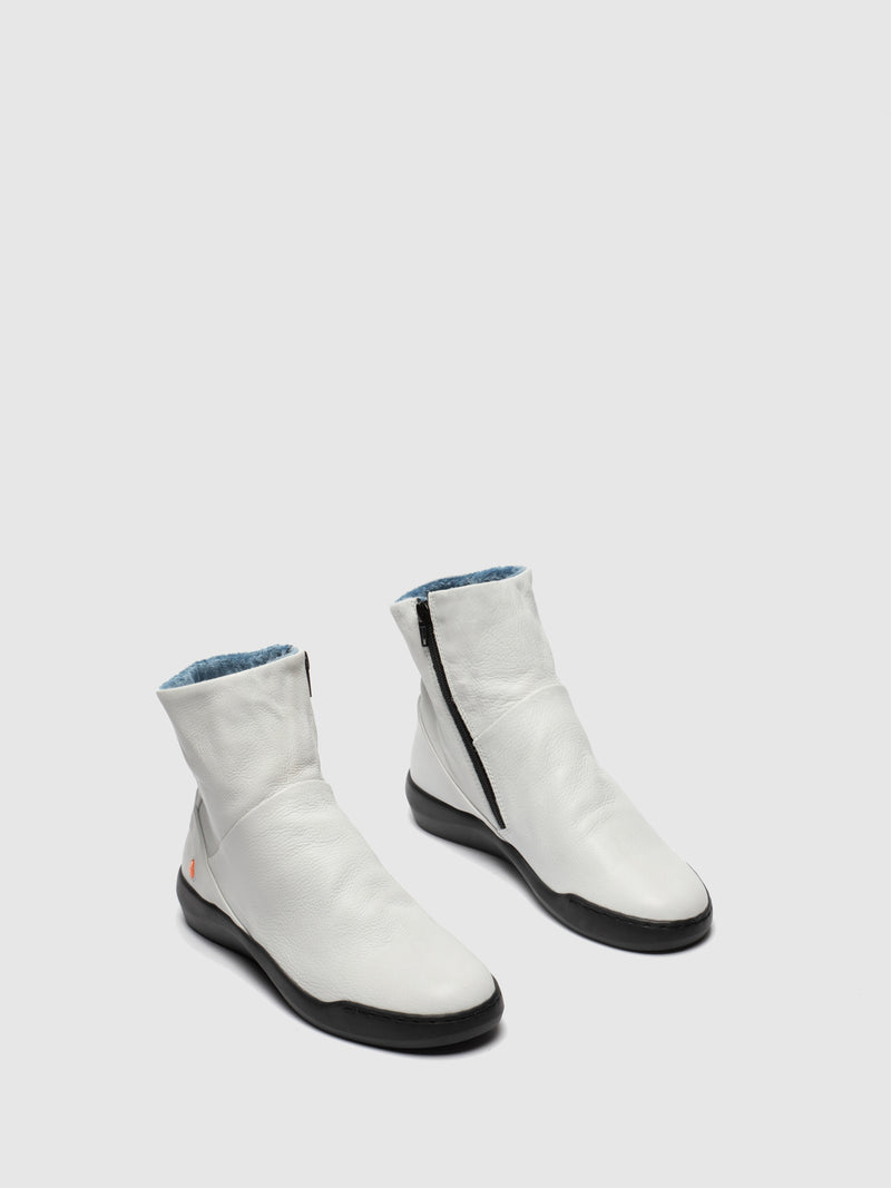 White Zip Up Ankle Boots