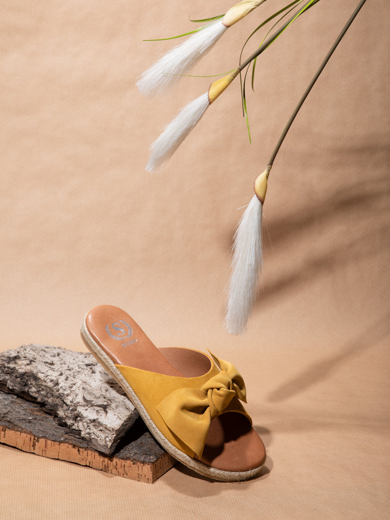 Yellow Embellished Mules
