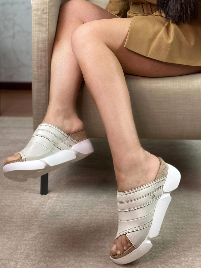 White Open Toe Mules
