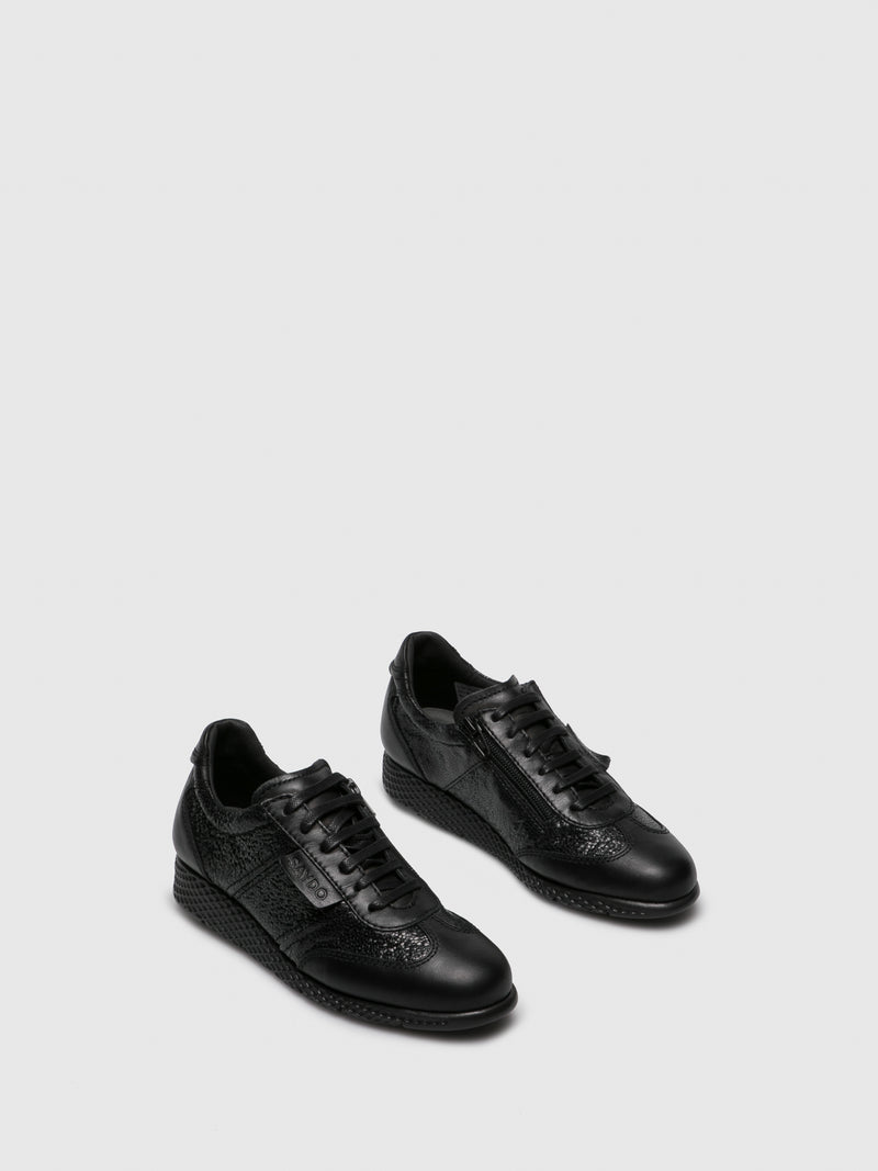 Black Leather Lace Fastening Shoes