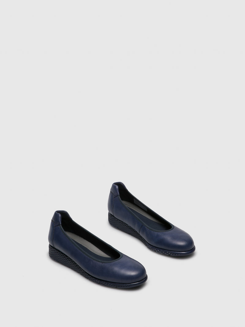 Blue Round Toe Ballerinas