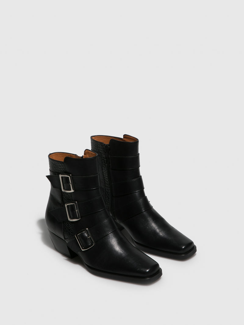 Sofia Costa Black Cowboy Ankle Boots