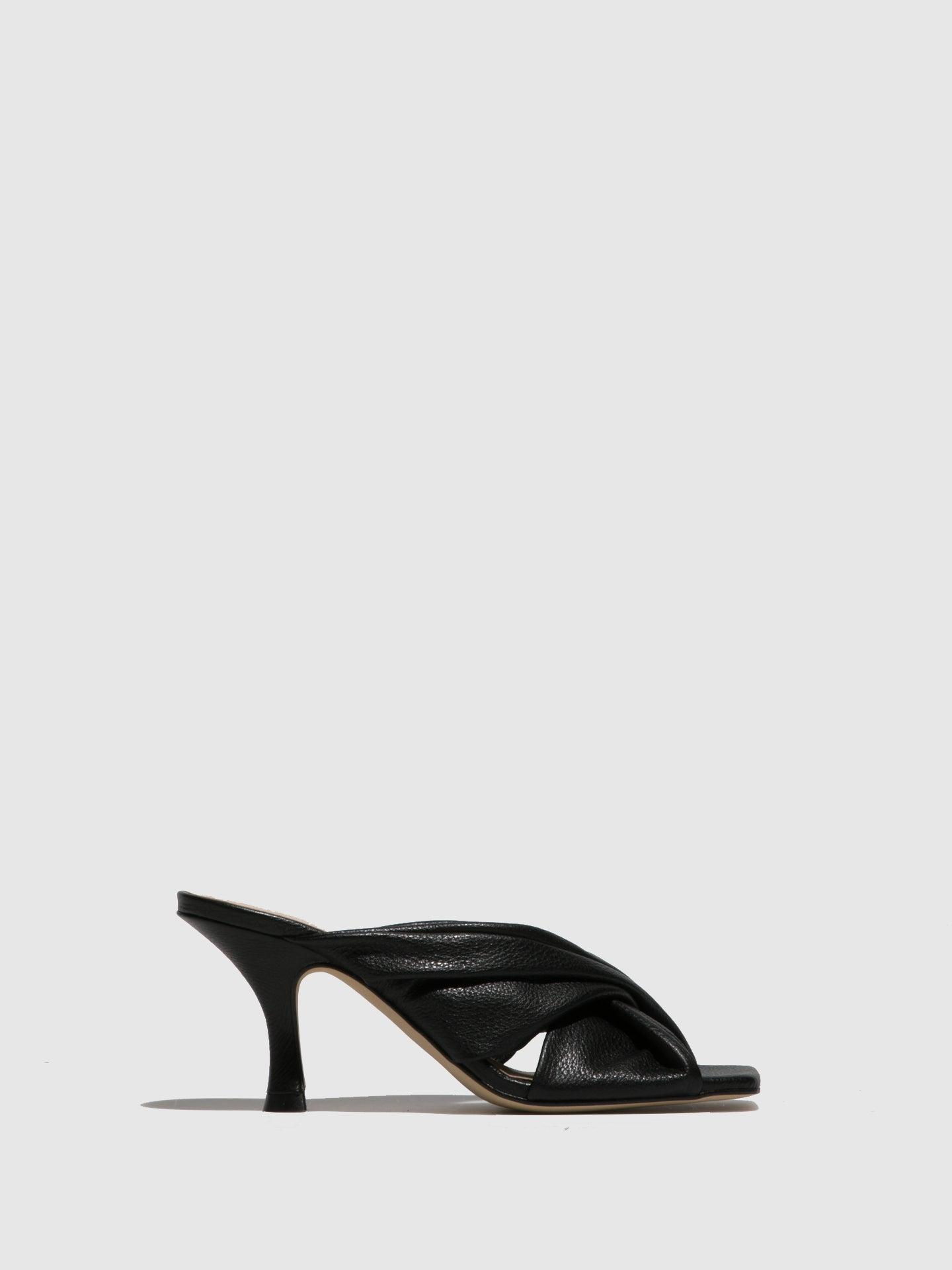 Sofia Costa Black Kitten Heel Mules