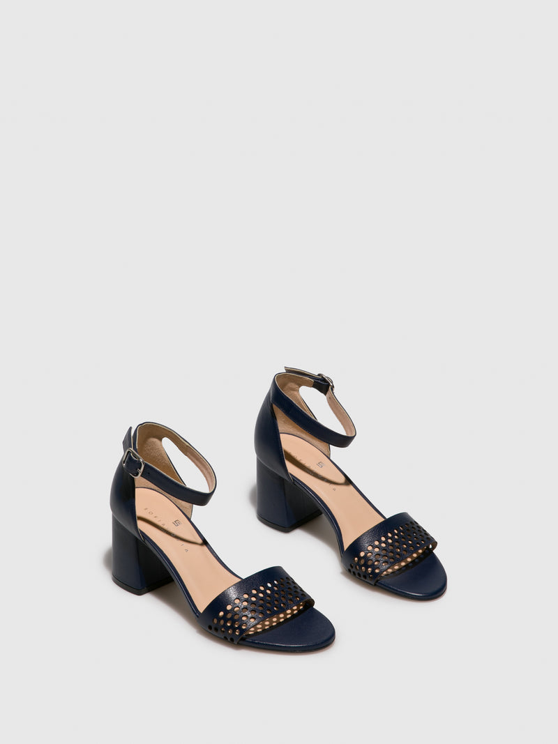 Sofia Costa Navy Ankle Strap Sandals