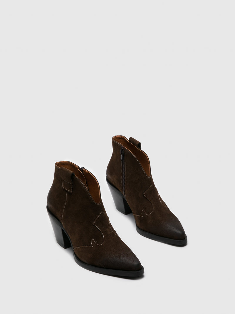 Sofia Costa Brown Cowboy Ankle Boots