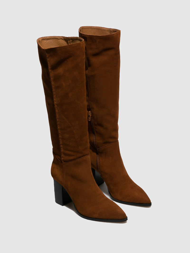 Camel Zip Up Boots