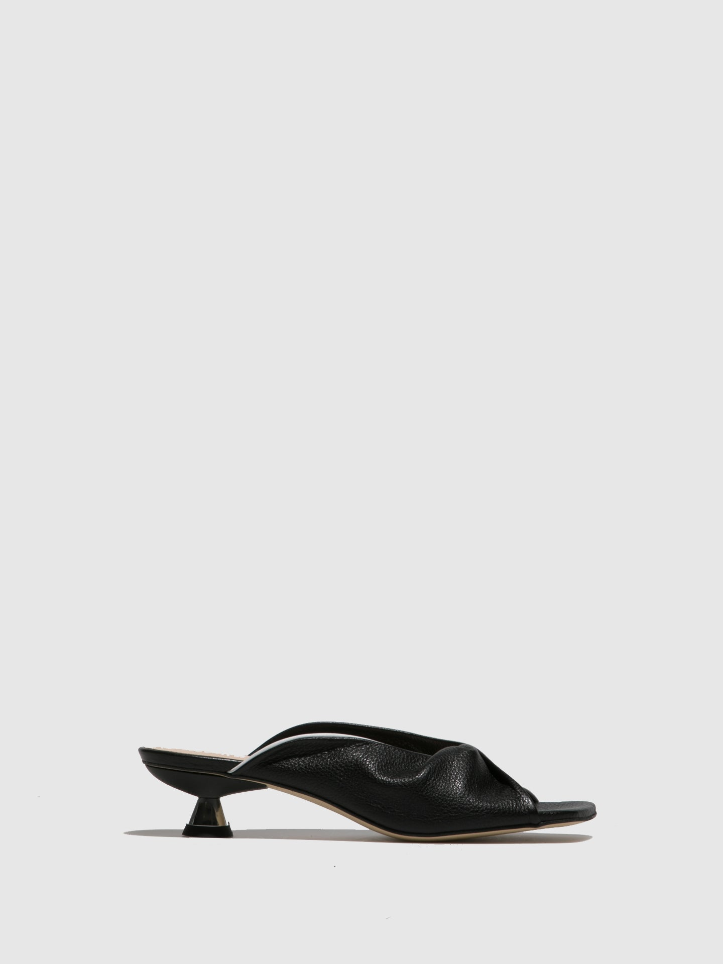 Sofia Costa Black White Kitten Heel Mules