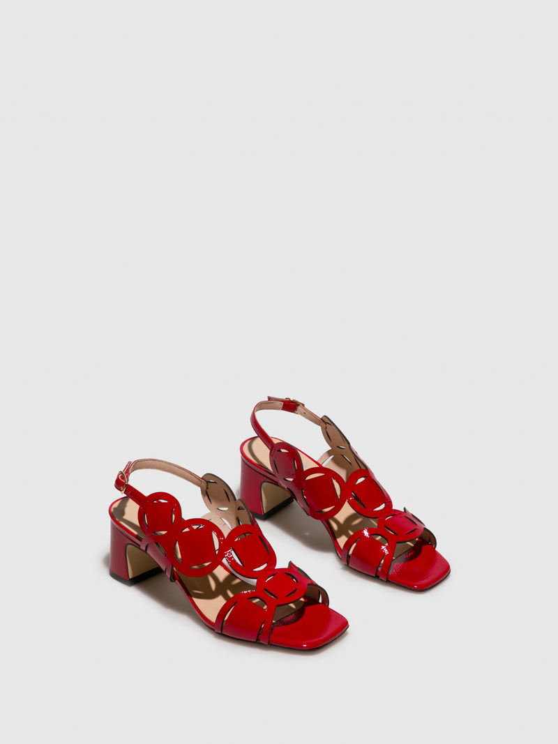 Sofia Costa Red Buckle Sandals