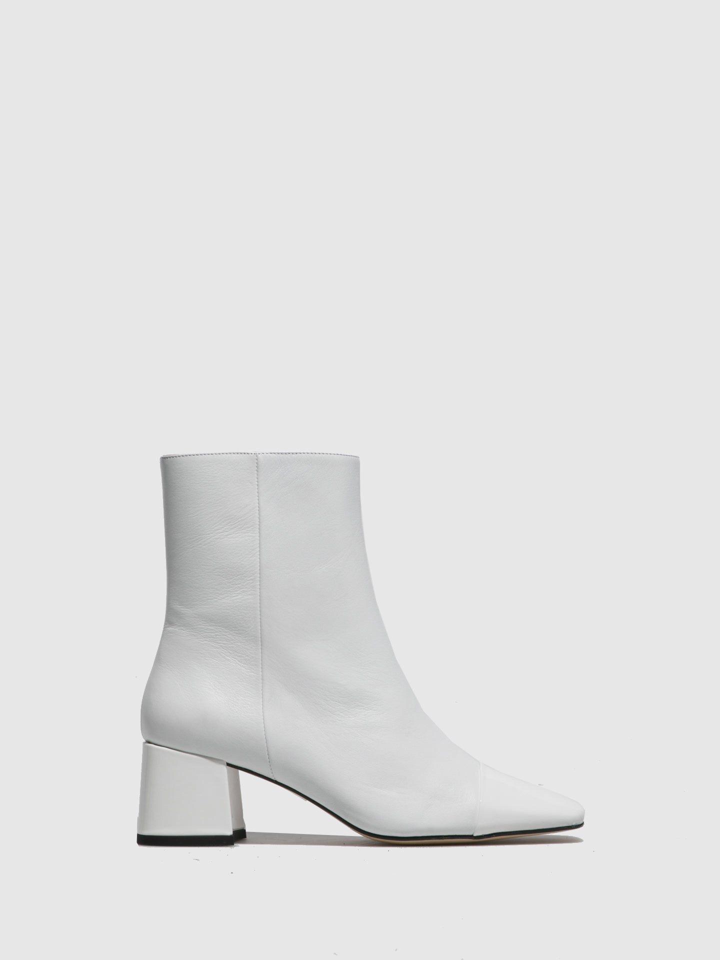 Sofia Costa White Zip Up Ankle Boots