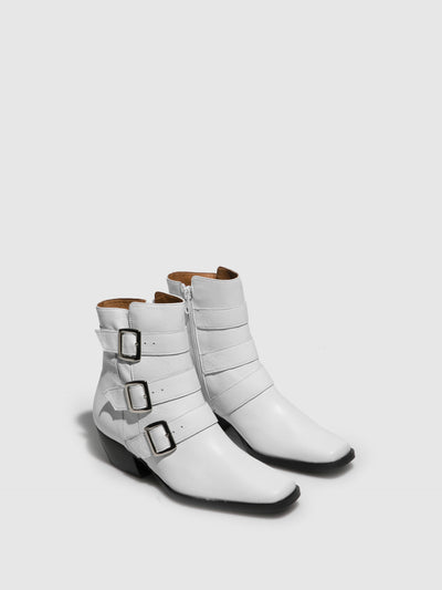 Sofia Costa White Cowboy Ankle Boots