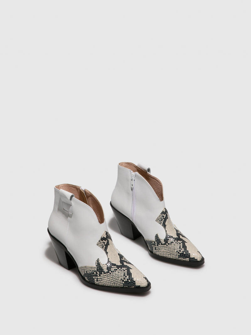 White Cowboy Ankle Boots