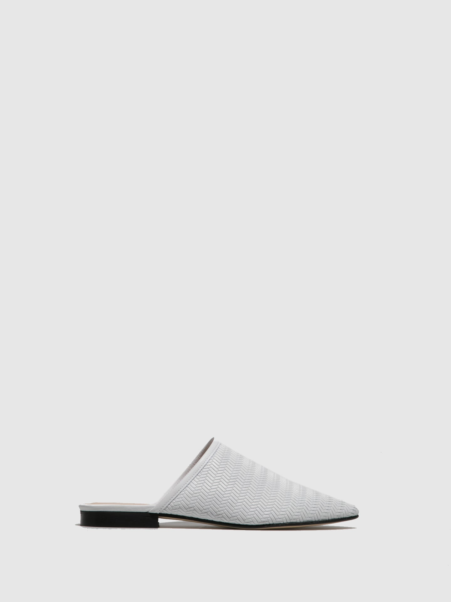 Sofia Costa White Closed Mules