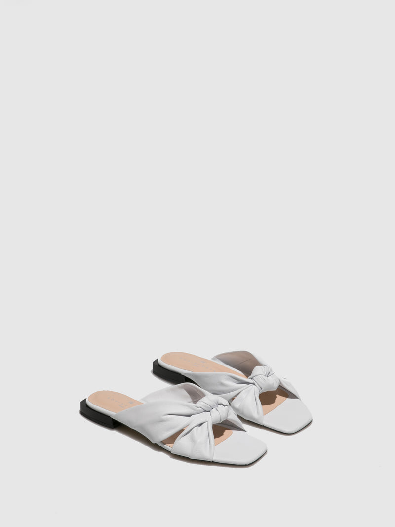 Sofia Costa White Flat Sandals