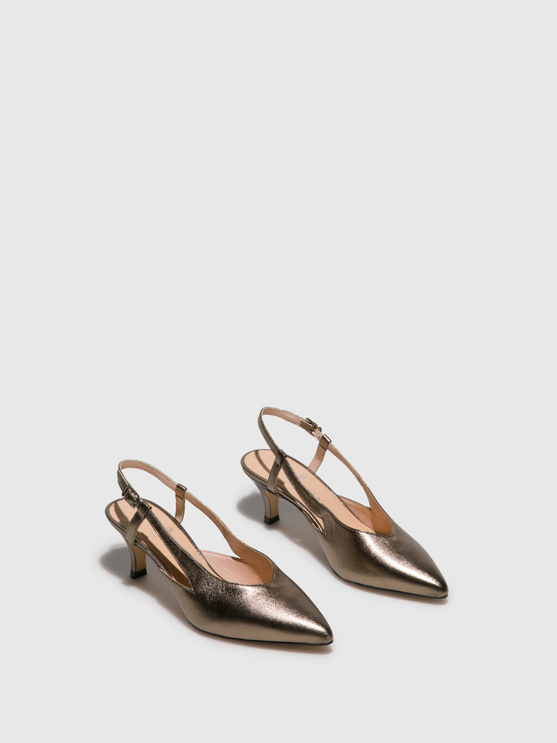 Sofia Costa Gold Sling-Back Sandals