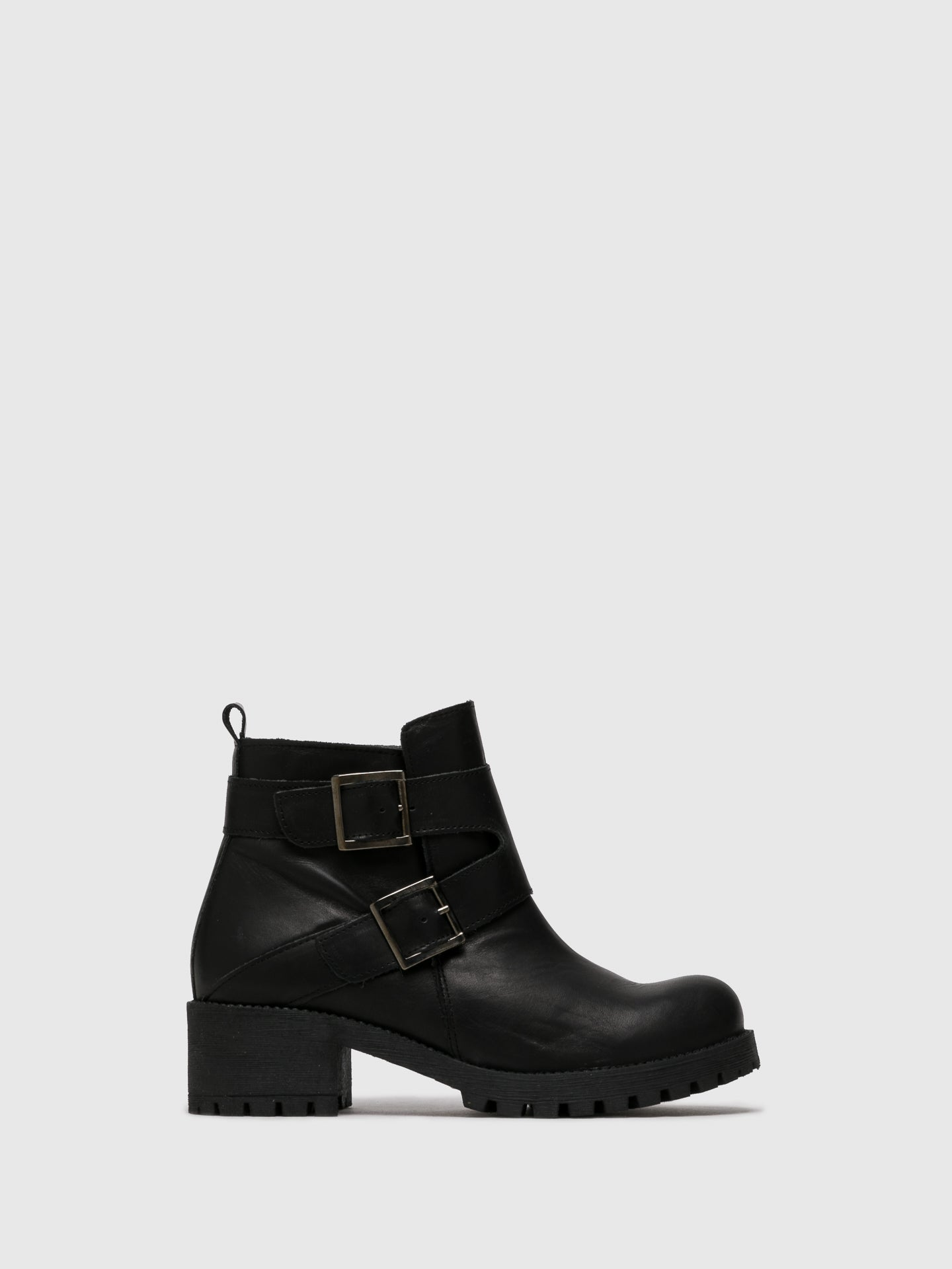 Sotoalto Black Buckle Ankle Boots