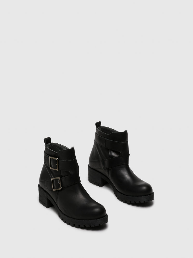Black Buckle Ankle Boots