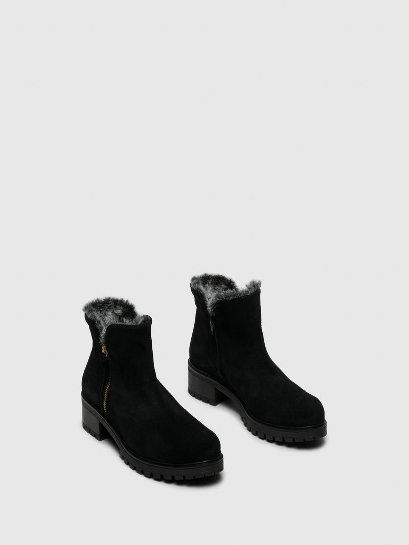 Matte Black Zip Up Ankle Boots