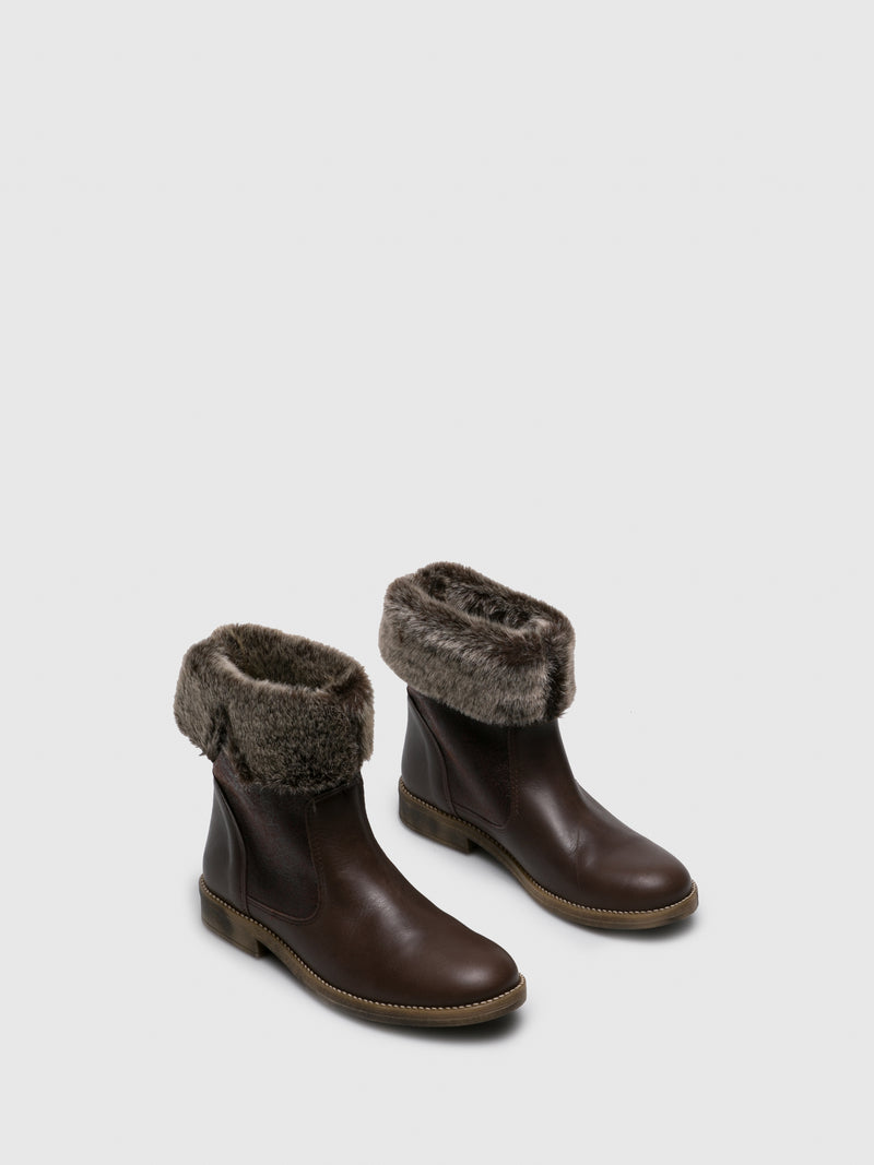 Brown Round Toe Ankle Boots