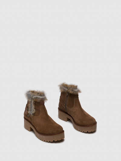 Sotoalto Camel Zip Up Ankle Boots