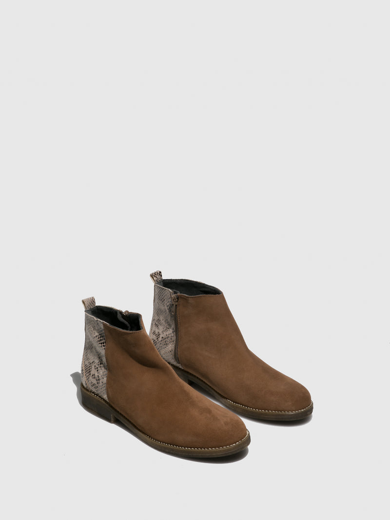 Sotoalto Brown Black Round Toe Ankle Boots