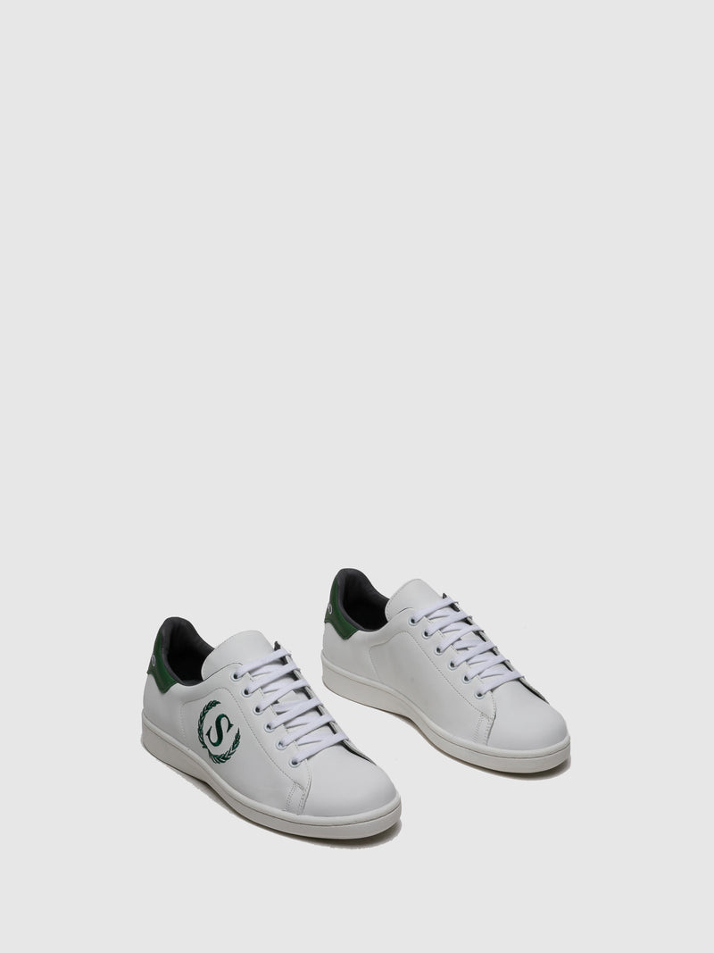 Green White Lace-up Trainers