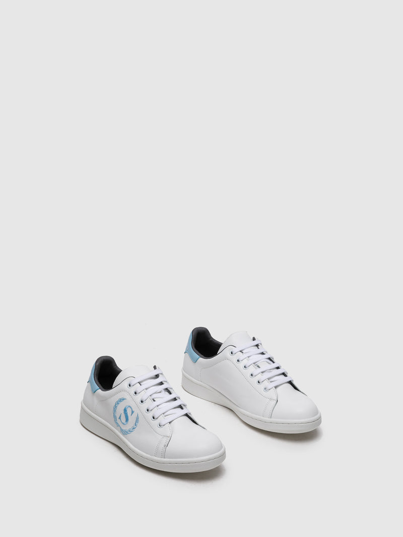 Blue White Lace-up Trainers