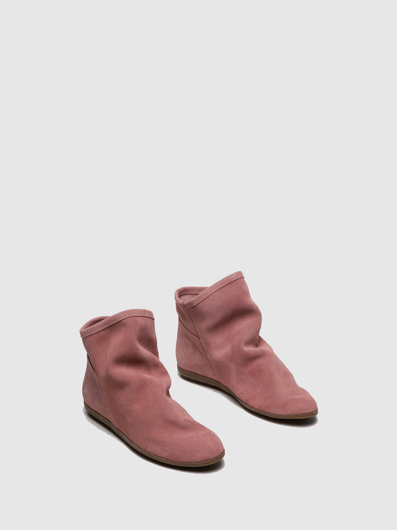 Pink Round Toe Ankle Boots