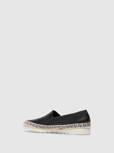 Verbenas Black Elasticated Espadrilles