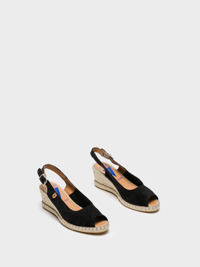 Verbenas Black Sling-Back Sandals