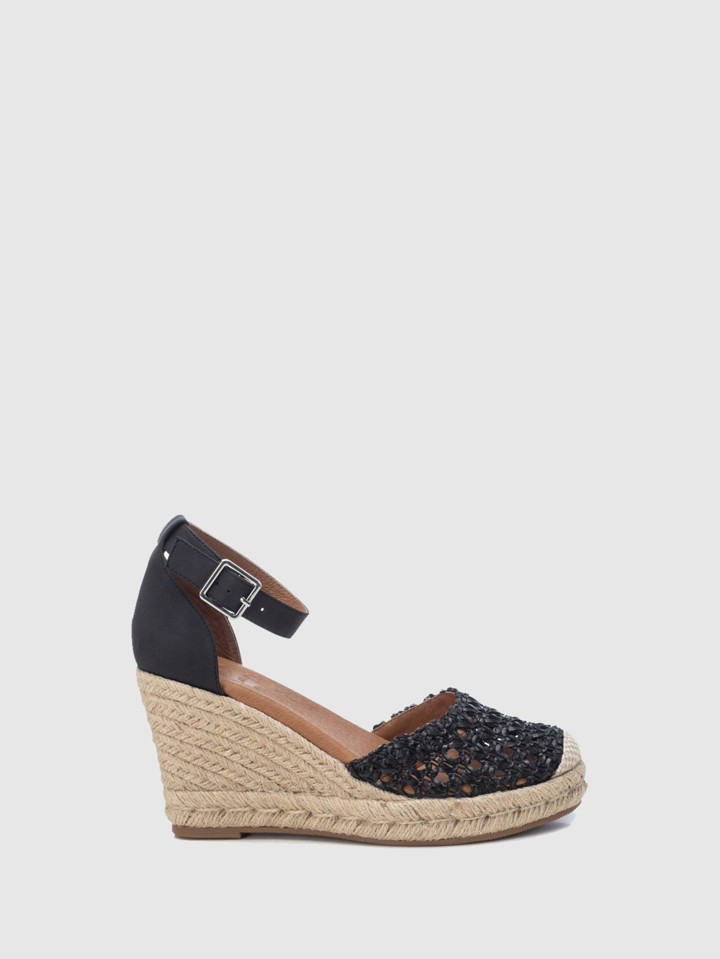 XTI Black Wedge Sandals