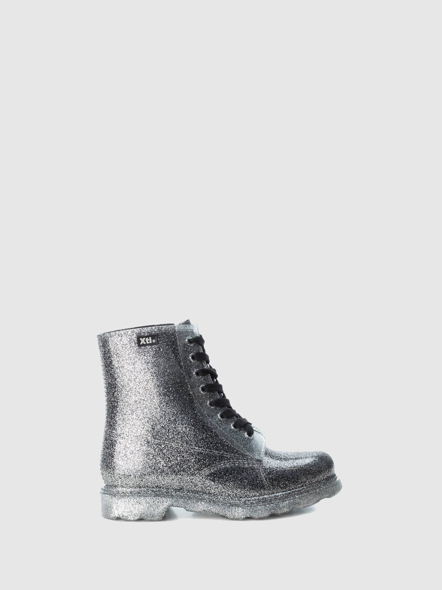 XTI Silver Lace-up Ankle Boots
