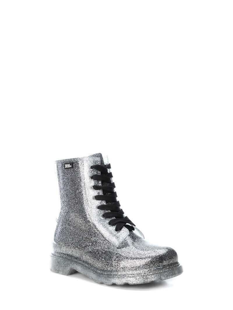Silver Lace-up Ankle Boots