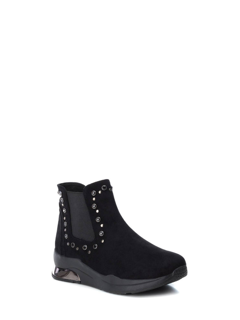 XTI Black Elasticated Ankle Boots