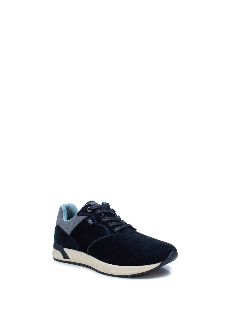 XTI Navy Suede Lace-up Trainers