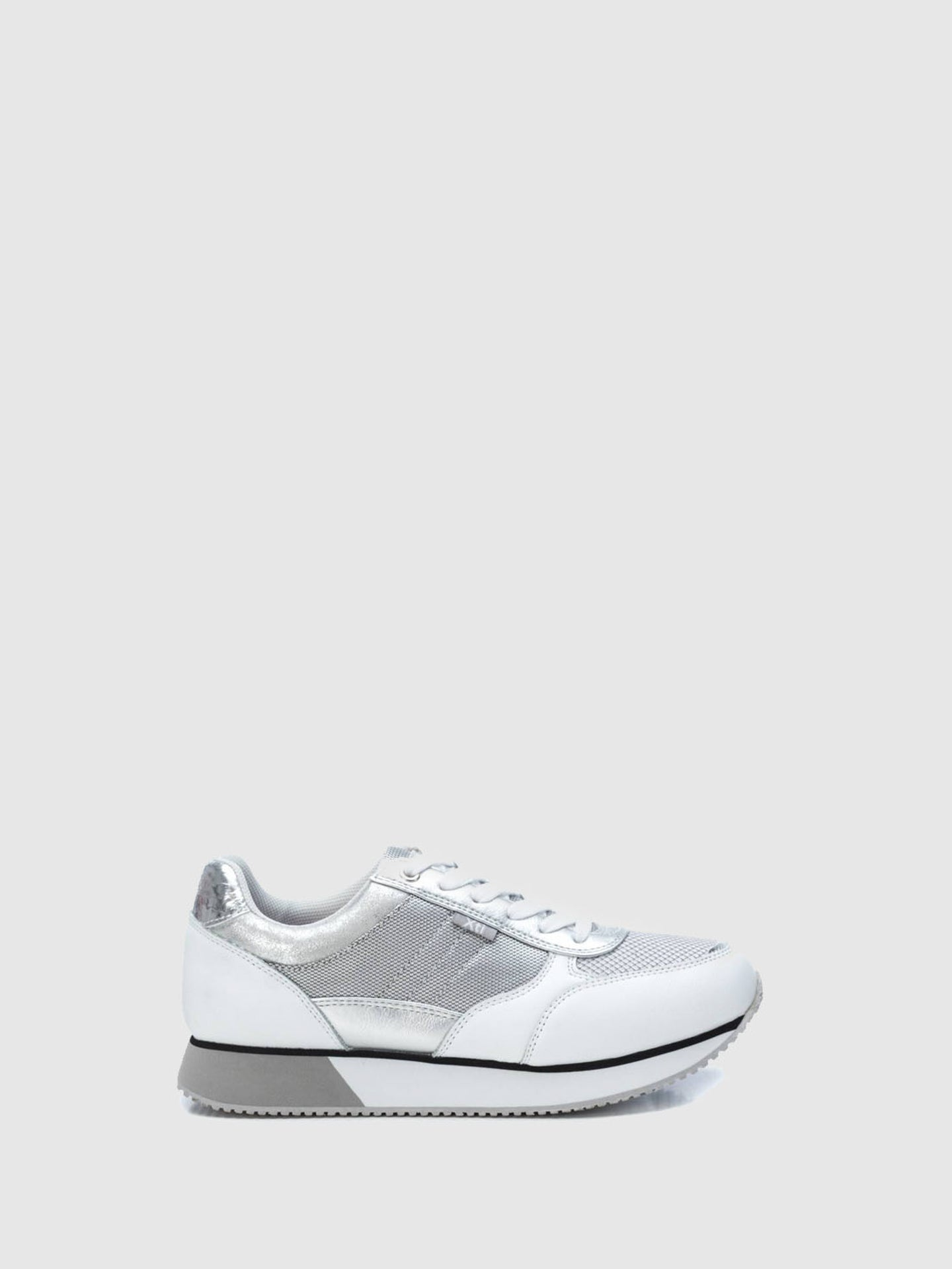 XTI Silver Lace-up Trainers