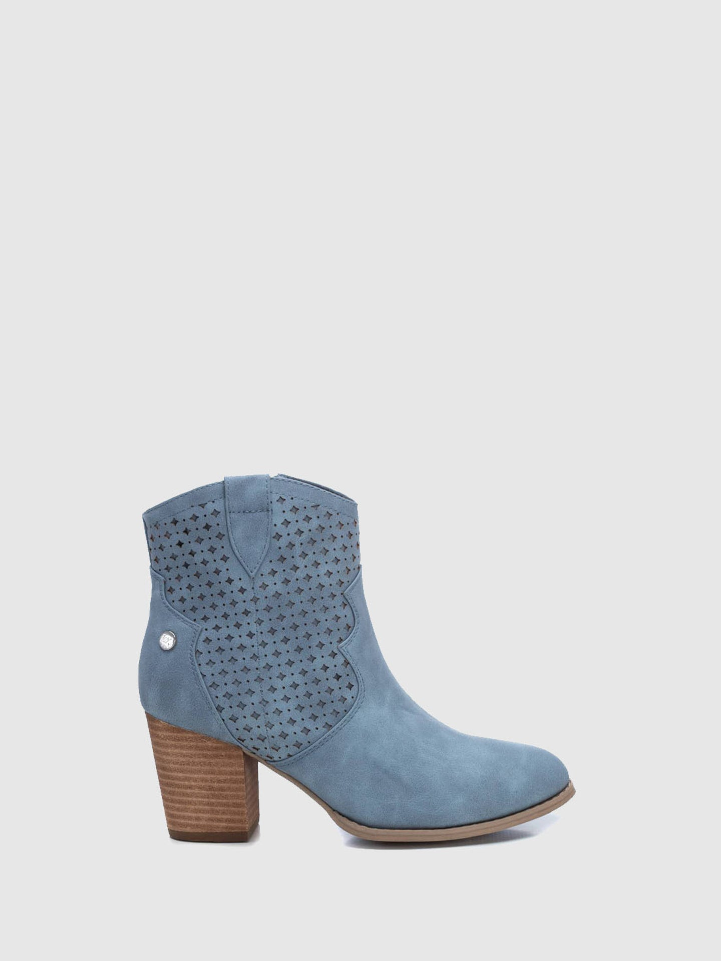 XTI Blue Zip Up Ankle Boots