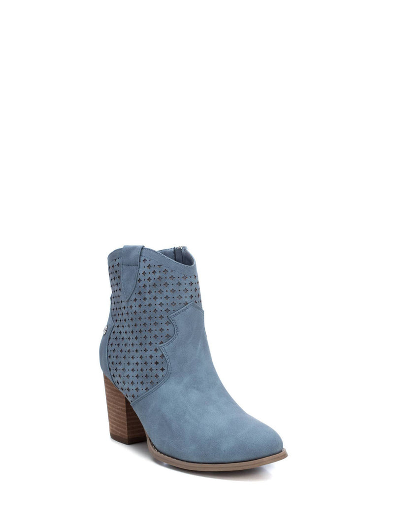 Blue Zip Up Ankle Boots
