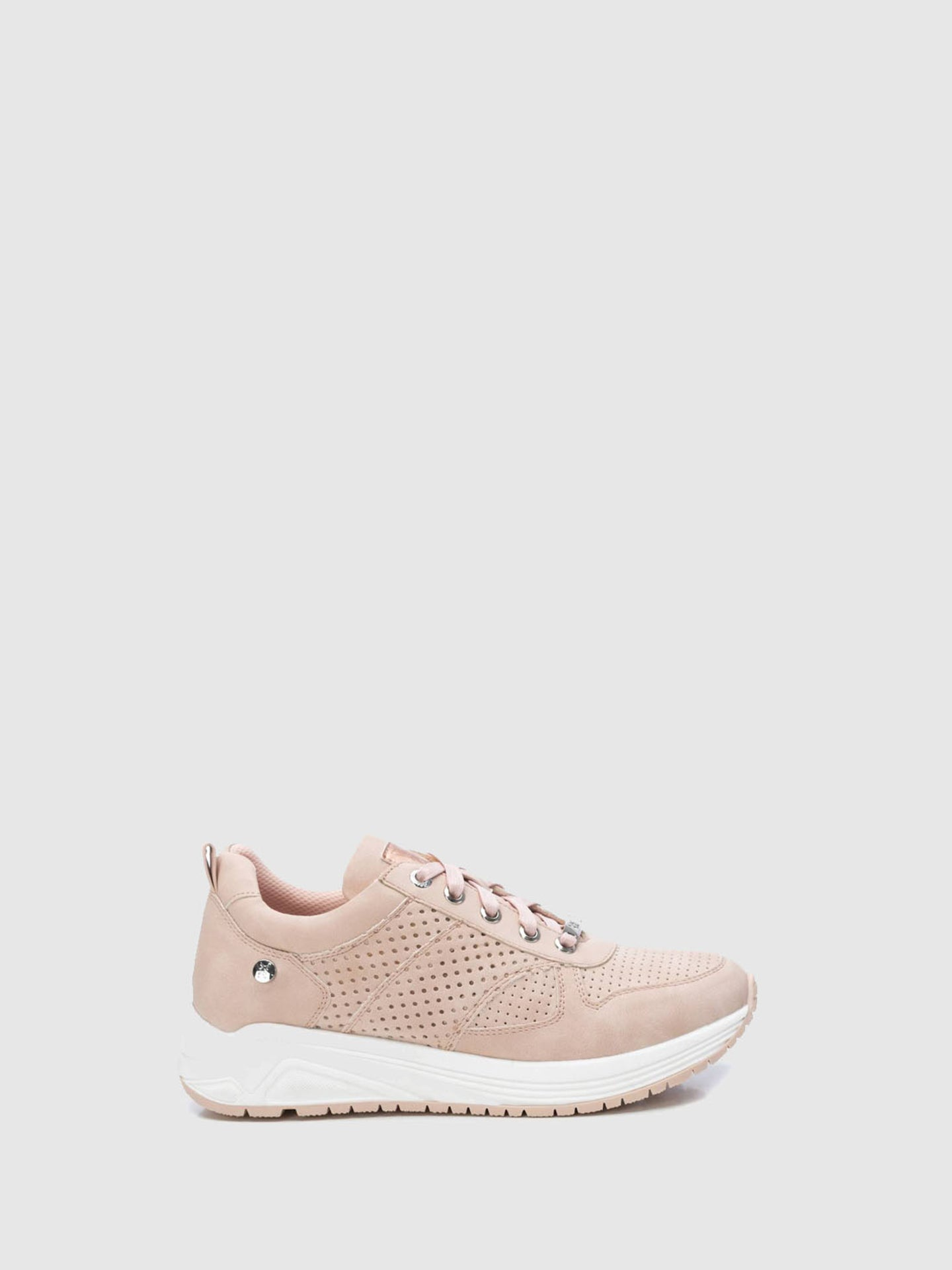 XTI Pink White Lace-up Trainers