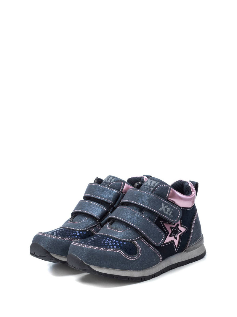 XTI Kids Navy Velcro Ankle Boots